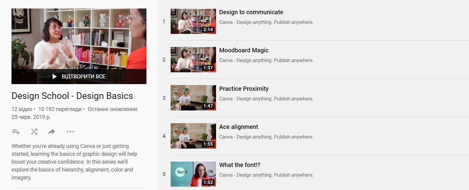5. Школа дизайну Canva:початкові знання принципів графічного дизайну з простими вправами